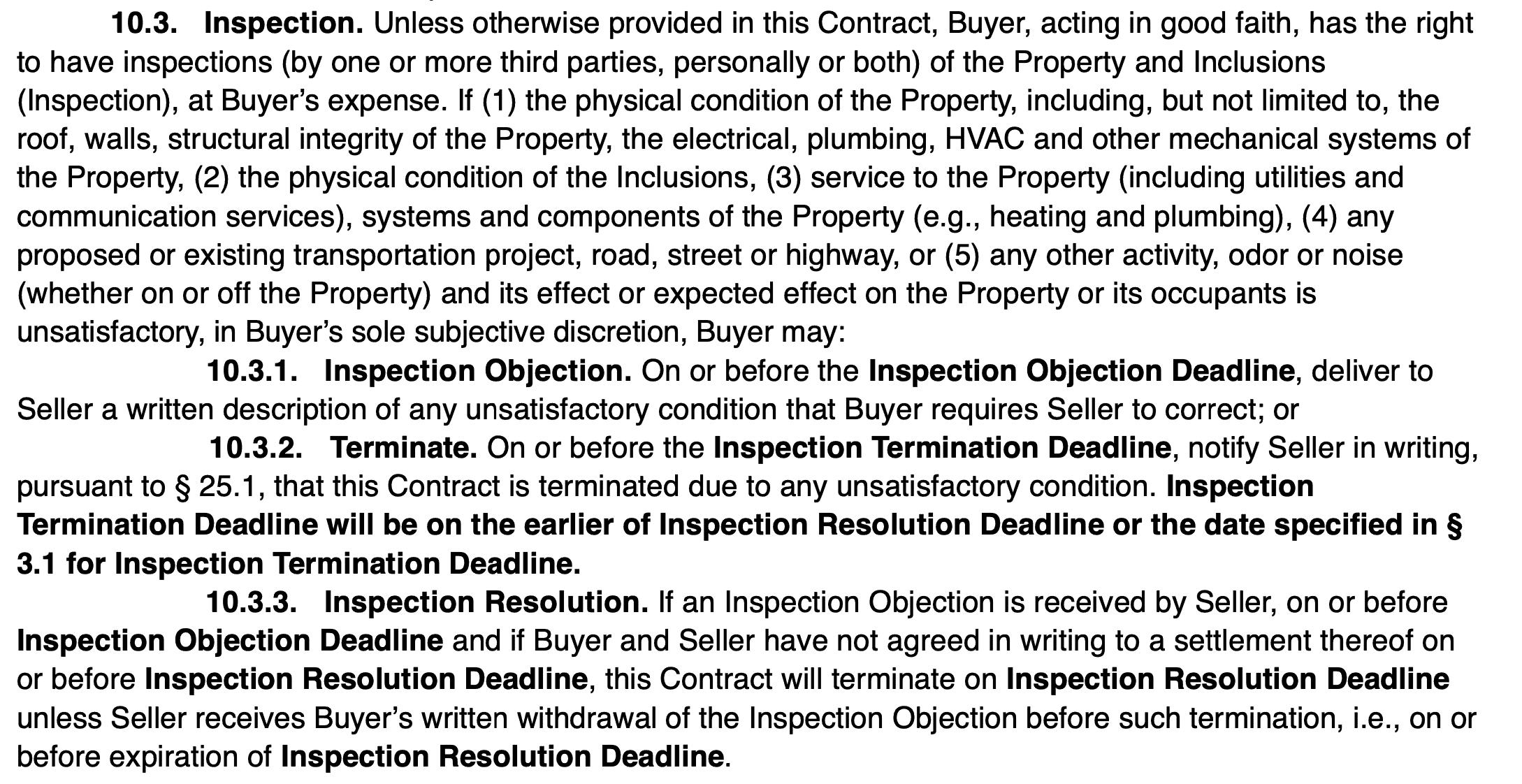 Colorado springs real estate inspection clause