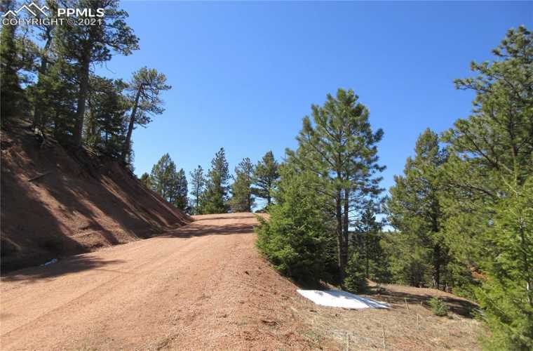 Access driveway from Rocky Point Lane.  This beautiful 2.55-acre lot has a wonderful west-facing view ready to build your dream home in the mountains in the highly sought-after gated community of Woodmoor Mountain in southern Douglas County
